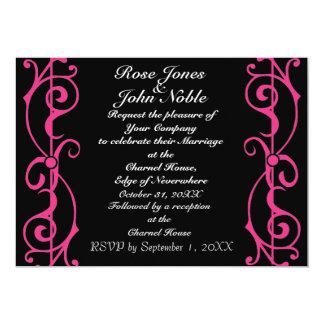 Invitación (magenta) del boda del ébano de la