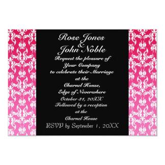 Invitación (magenta) negra azul del boda