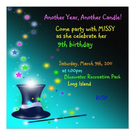 Invitación mágica de la fiesta de cumpleaños del g
