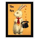 Invitación mágica del conejo y del sombrero de cop