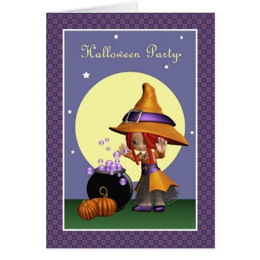 Invitación mágica del fiesta de Halloween de la br Tarjetas