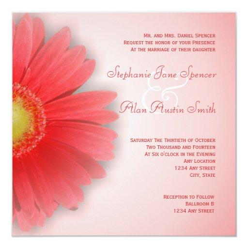 Invitación magnífica del boda del Gerbera Invitación 13,3 Cm X 13,3cm