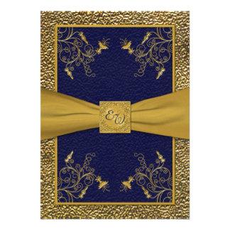Invitación majestuosa del boda del monograma de la