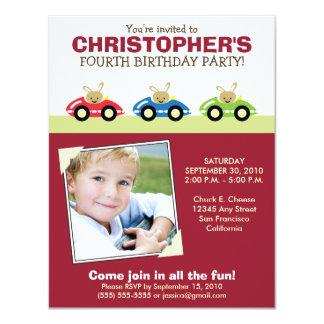 Invitación marrón de la fiesta del cumpleaños del