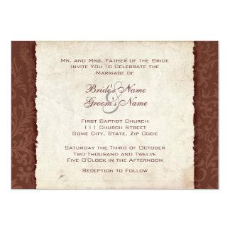 Invitación marrón del boda del país invitación 12,7 x 17,8 cm
