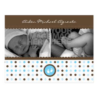 invitación marrón y azul del nacimiento postales