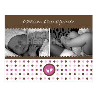 invitación marrón y rosada del nacimiento tarjeta postal