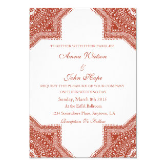 Invitación marroquí roja étnica del boda