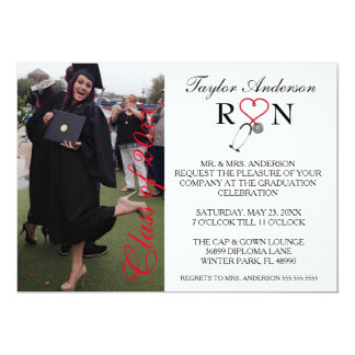 Invitación médica de moda de la graduación de la