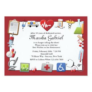 Invitación médica del fiesta de retiro invitación 12,7 x 17,8 cm