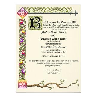 Invitación medieval del boda de la voluta