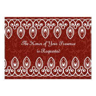 Invitación medieval roja del boda del brocado