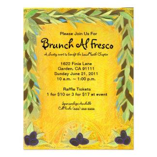 Invitación mediterránea de la guirnalda verde oliv
