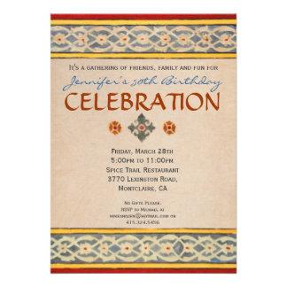 Invitación mediterránea del fiesta - teja pintada