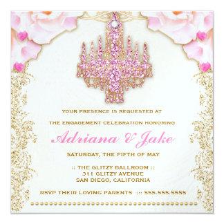 Invitación metálica de la lámpara rosada glamorosa