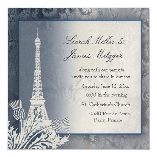 Invitación metálica de oro de la torre Eiffel Invitación 13,3 Cm X 13,3cm