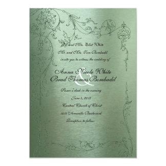 Invitación metálica del boda del verde tímido del invitación 12,7 x 17,8 cm