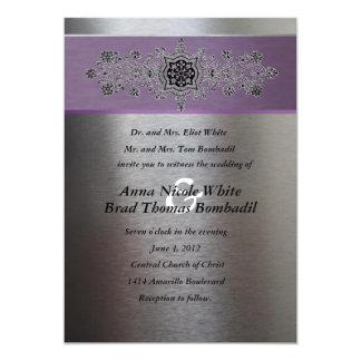 Invitación metálica púrpura de plata del boda