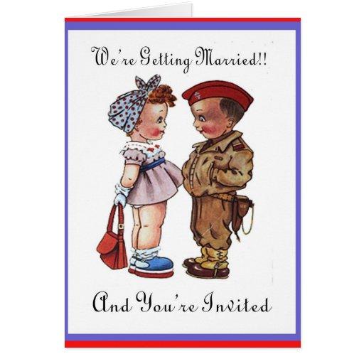 Invitación militar del boda tarjeta de felicitación