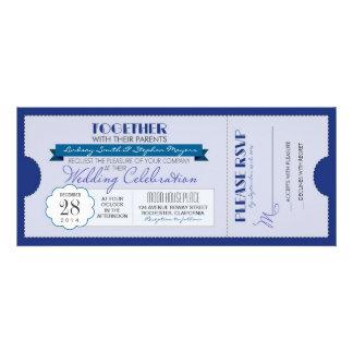 invitación moderna azul del boleto del boda