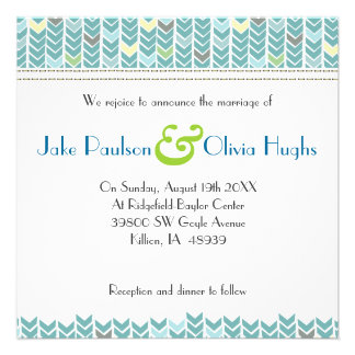 Invitación moderna azulverde del boda de Chevron d