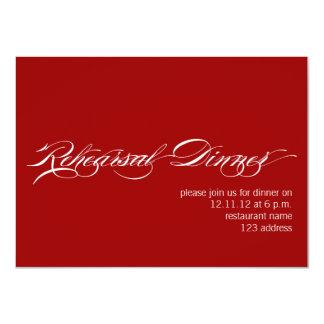 Invitación moderna blanca roja de la cena del