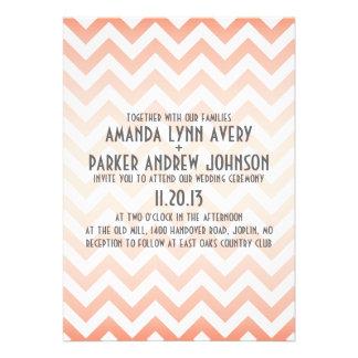 Invitación moderna coralina del boda de Chevron Om
