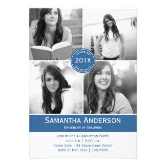 Invitación moderna de la graduación de 4 fotos - a