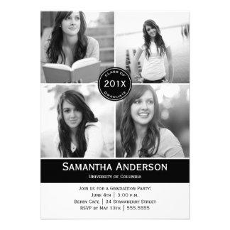 Invitación moderna de la graduación de 4 fotos - n