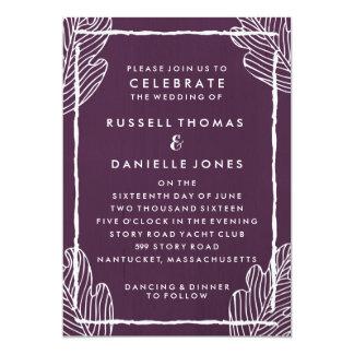Invitación moderna del boda de la hoja tropical