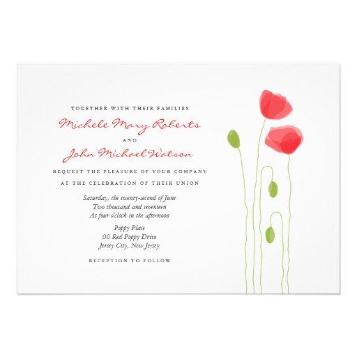 Invitación moderna del boda de las amapolas ligera