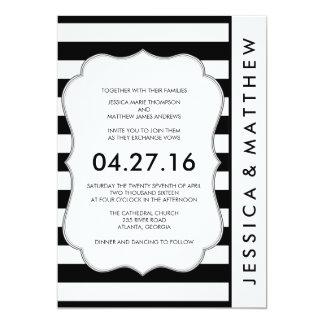 Invitación moderna del boda de las rayas blancos y