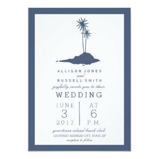 Invitación moderna del boda de playa de la isla -
