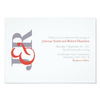 Invitación moderna del boda del monograma de la