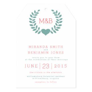 Invitación moderna del boda del monograma del invitación 12,7 x 17,8 cm