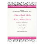 Invitación moderna del boda del remolino (Fuschia)