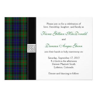 Invitación moderna del boda del tartán de Gunn