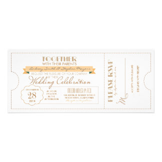 invitación moderna del boleto del boda