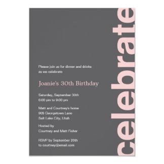 Invitación moderna del fiesta de la celebración - invitación 12,7 x 17,8 cm