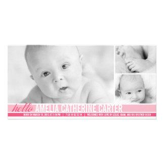 Invitación moderna del nacimiento de la niña de lo tarjetas con fotos personalizadas