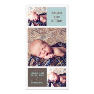 Invitación moderna del nacimiento del bebé de la f tarjeta personal con foto
