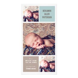 Invitación moderna del nacimiento del bebé de la f tarjeta fotográfica