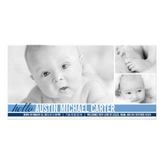 Invitación moderna del nacimiento del bebé de los  tarjeta fotografica
