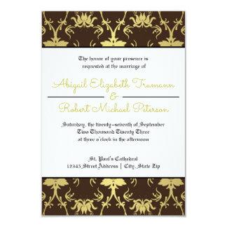 Invitación moderna del oro Leaf-3x5Wedding de los