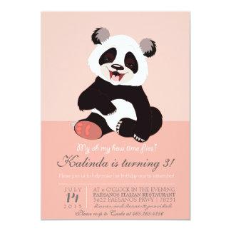 Invitación moderna del rosa del oso de panda