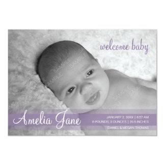 Invitación moderna púrpura del bebé invitación 12,7 x 17,8 cm