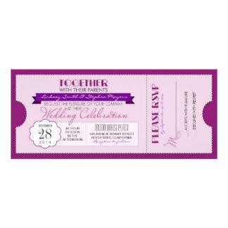 invitación moderna púrpura del boleto del boda