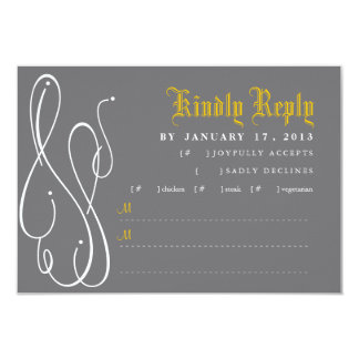 Invitación moderna RSVP del boda del remolino Invitación 8,9 X 12,7 Cm