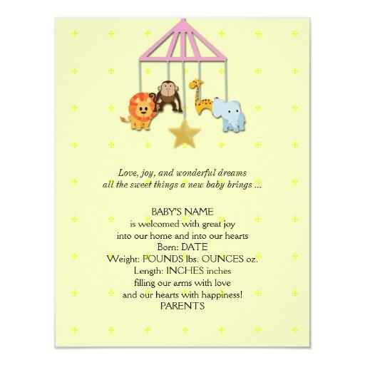 Invitación móvil animal del bebé del bebé amarillo