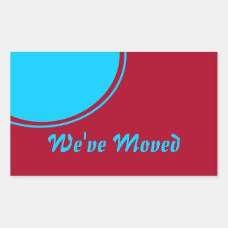 Invitación móvil moderna roja de la turquesa pegatina rectangular